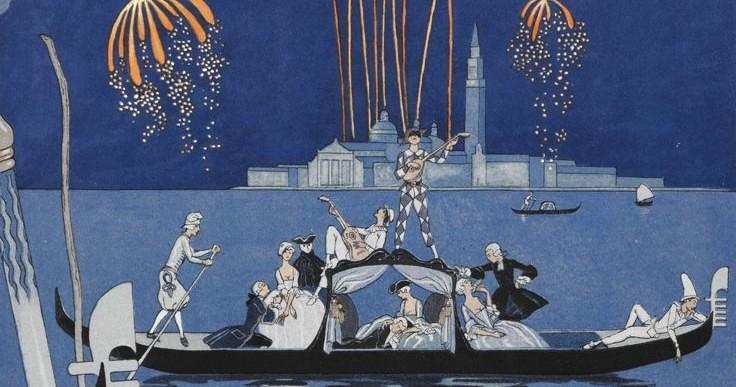 En bateau. Fireworks in Venice. People in a gondola.