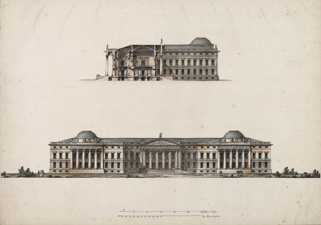 Palazzo Bežborodko per Mosca. Prospetto principale e sezione sull'ingresso