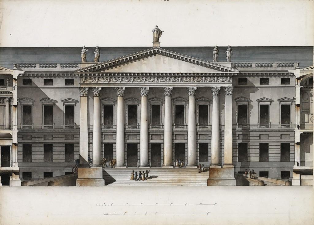 Palazzo Bežborodko per Mosca. Parte centrale del prospetto principale