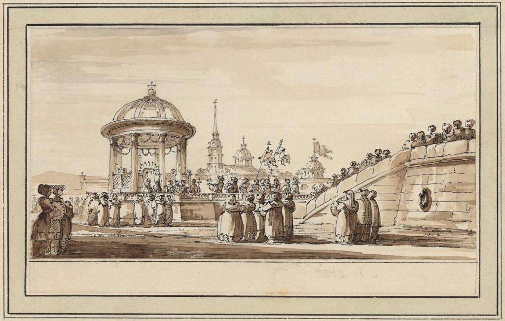 Tempietto provvisorio per una processione lungo la Neva