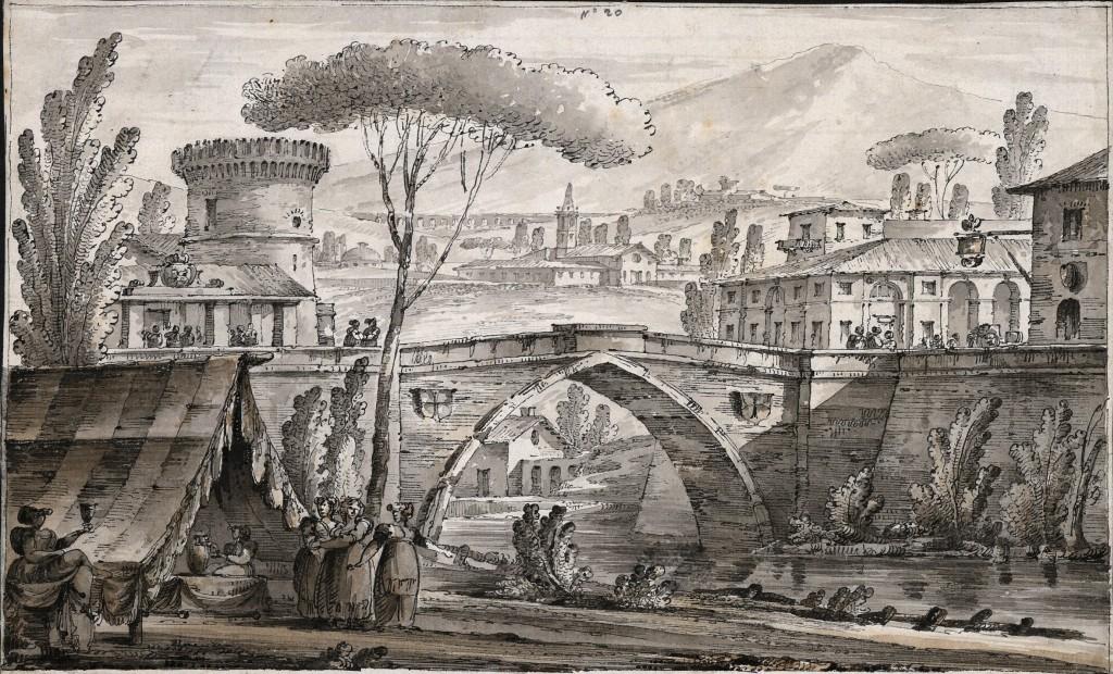 Paesaggio con ponte ad arco acuto