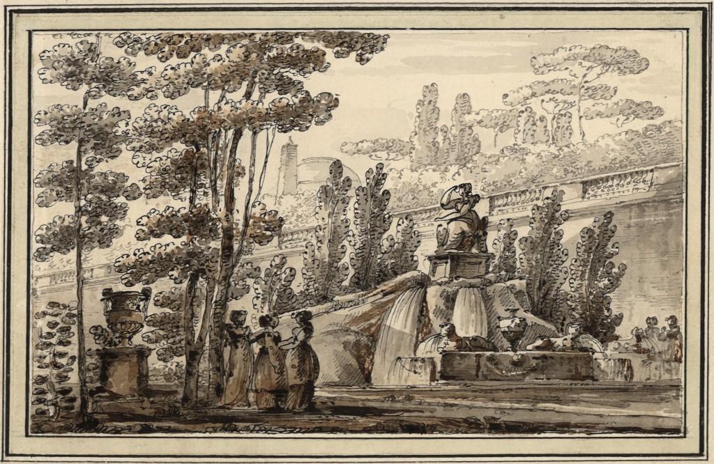 Fontana con sculture in un parco