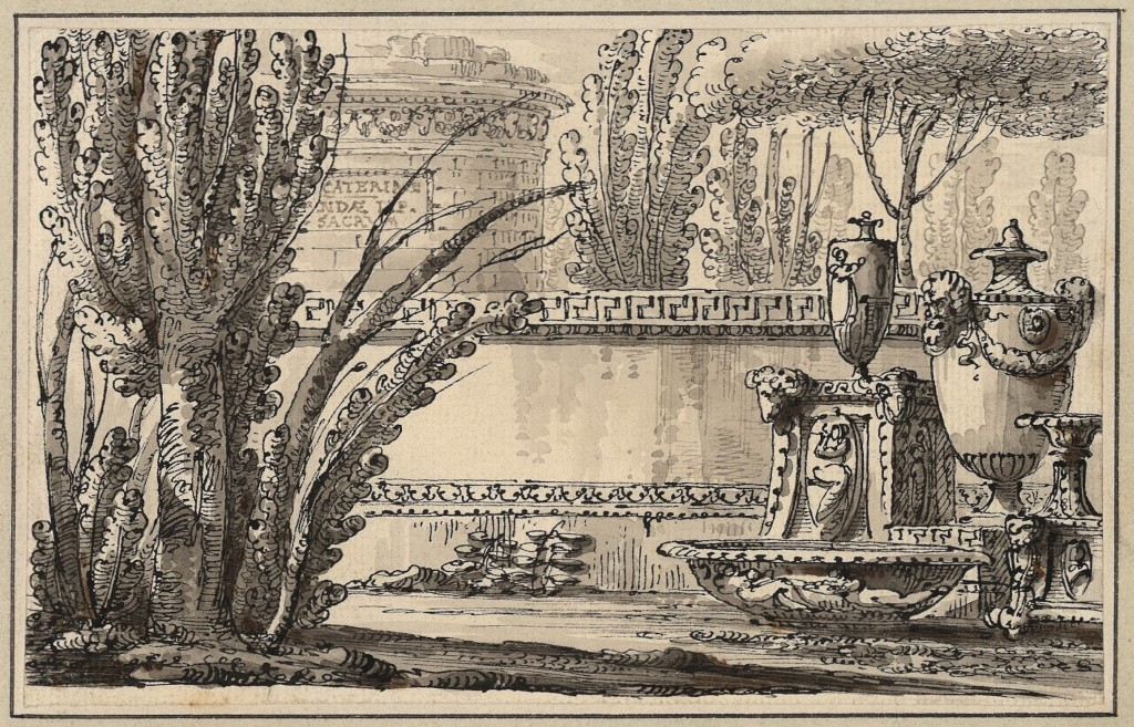 Capriccio con urna e mausoleo